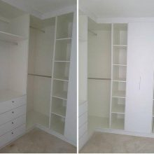 White Corner Cupboards with Double Hanging Rails