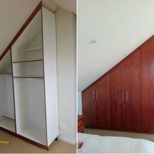 A Custom Bedroom Cupboard designed to fit a slanted ceiling